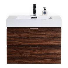 "Kubebath - Kubebath Bliss Wall Mount Bathroom Vanity, 30"", Walnut - Bathroom Vanities"