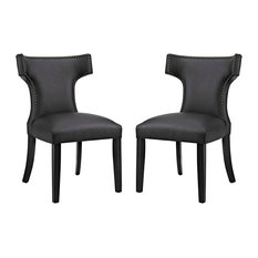 Modern Contemporary Urban Kitchen Dining Chair Set Of 2 Black Faux Leather