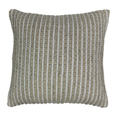 """Blazing Needles 20"""" Woven Look Rope Corded Pillow, White/ Beige"""
