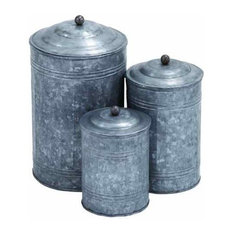 "Metal Galvanized Canisters, 3-Piece Set, 11"", 9"", 7"""