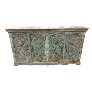 Mogul Interior - Consigned Distressed Blue Sideboards Ornate Lotus Carved Double Door Buffet - Buffets And Sideboards