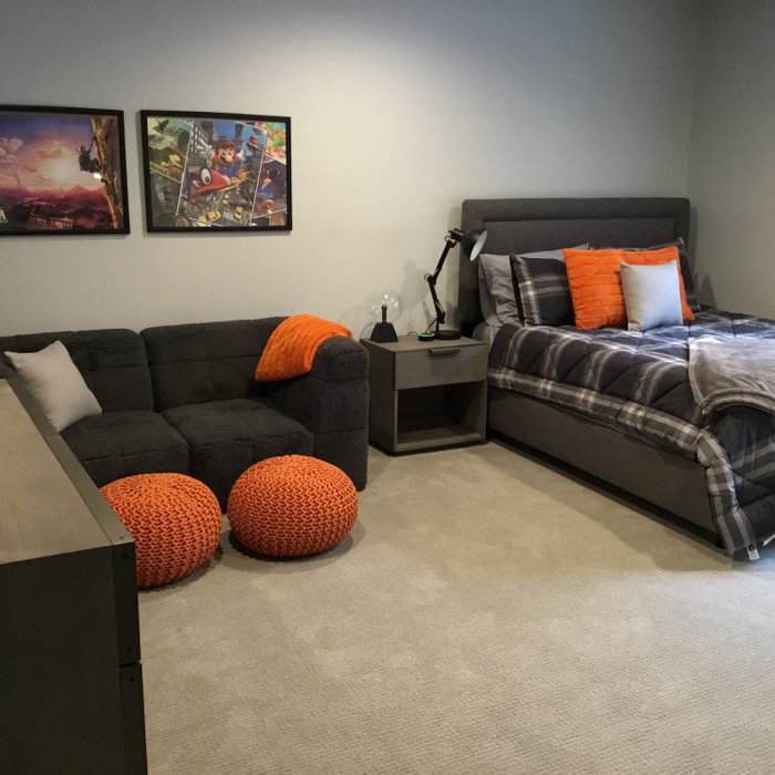 Modern Teen Bedroom with Pop of Orange