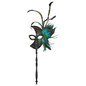 Half Moon Feather Mask Decoration, With Holding Stick