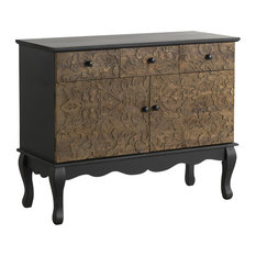 Spruce Wood Carved 2-Door Sideboard