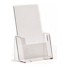Contemporary Magazine Rack in Clear Moulded Plastic, Single Pocket Design
