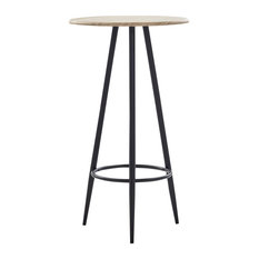 VidaXL Bar Table Oak 23.6-inch MDF Round Kitchen Dining Room Bistro Table Stand