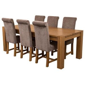 Kuba Chunky Oak Dining Table With 6 Washington Chairs, Grey Velvet Effect