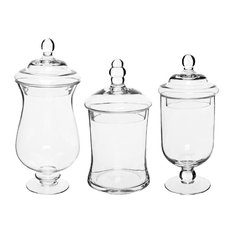 MyGift   Glass Storage U0026 Display Canisters / Apothecary Jars, Set Of 3    Bathroom