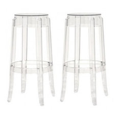 acrylic ghost stools set of 2 clear bar height bar stools and