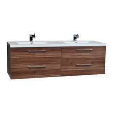 "Camino 67"" Modern Double Vanity Set Wall Mount, Walnut"