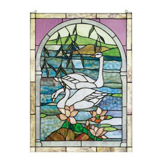 """22""""Wx30""""H Swans Stained Glass Window"""