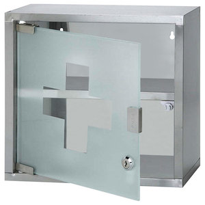 Wall Mounted Lockable Medicine Cabinet, Stainless Steel and Frosted Glass Door