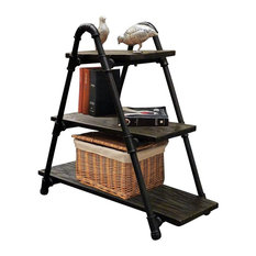 Charleston Industrial Chic Display Bookcasee, Black/Dark Brown Stain