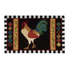 """Everywhere Rooster Accent Rug, Black, 1'8""""x2'6"""""""