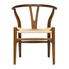 Laura Davidson Furniture - Wishbone Chair, Midcentury Modern, Commercial-Grade, Walnut With Natural Cord - Dining Chairs