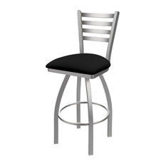410 Jackie 25-inch Counter Stool Stainless Finish Black Vinyl Seat