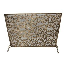 Light Burnished Gold Acanthus Leaf Fire Screen by Dr Livingstone I Presume