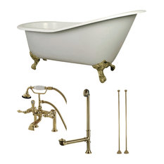 "Aqua Eden 62"" Cast Iron Clawfoot Tub Combo, White/Polished Brass"