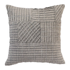 """Tammie Pleated 18"""" Throw Pillow, Gray by Kosas Home"""