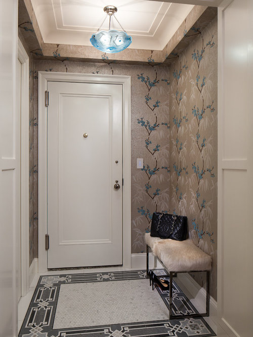 Small foyer design ideas, remodels & photos with marble floors