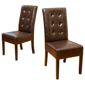 GDF Studio Harrison Tufted Leather Dining Chairs, Set of 2, Brown