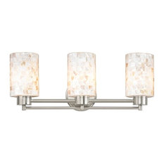 Destination Lighting - Mosaic 3-Light Glass Vanity Fixture, Satin Nickel -  Bathroom Vanity