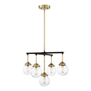 5-Light Chandelier, Oil Rubbed Bronze and Brass