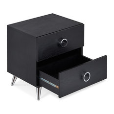 2 Drawers Night Stand With Tapered Chrome Leg, Black