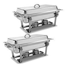 2 Packs Chafing Dish 9 Quart Stainless Steel Rectangular Full Size Buffet