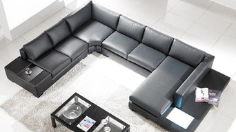 Tosh Lombardy Black Leather Sectional Sofa