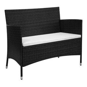 Minot Slated Seat Patio Bench Black Transitional