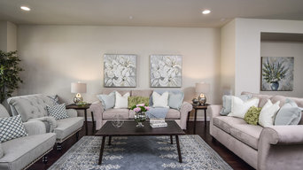 Staged Family Room with Light Blue and Greens