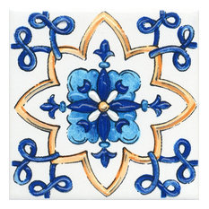 Blue and Yellow Decorative Glazed Tile Design 5, 20 x 20 cm