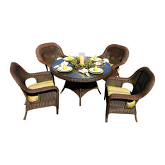 Tortuga Outdoor - Sea Pines 5-Piece Dining Set, 4 Dining Chairs, 1 Dining Table, Java, Rave Brick - Outdoor Dining Sets