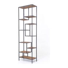 102-inch Tall Frida Bookshelf Iron Frame Reclaimed Pine Antique Bleached Finish
