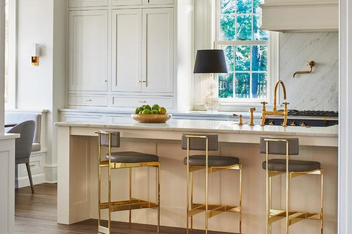 Have You Seen These Gray Brass Counter Height Stools Anywhere
