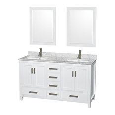 """Double Bathroom Vanity, Countertop, Undermount Square Sinks, Mirrors, White, 60"""""""