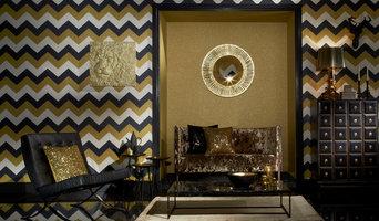 Glitterati Black and Gold Chevron by Arthouse