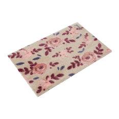 Martha Floral Pattern Doormat, Beige and Pink
