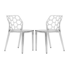 Leisuremod Dynamic HoneyComb Design Dining Chair, Clear