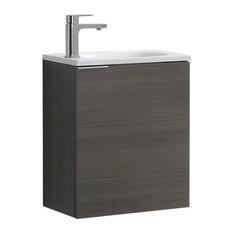 "Fresca Senza Valencia 20"" Wall Hung Modern Bathroom Vanity, Gray Oak"