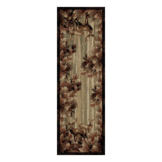 """American Destination Whitetail Woods Deer Lodge Area Rug, 2'3""""x7'7"""""""