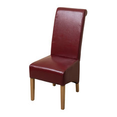 Modern Furniture Direct - Montana Scroll Back Bonded and Solid Oak Legs Chair, Red Leather - Dining Chairs