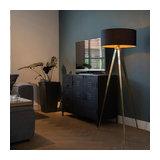 Floor Lamp Tripod Tripe Brass with Black Shade