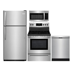 """4-Piece Stainless Steel Kitchen Package with FFTR1821TS 30"""" Top Freezer Refriger"""