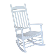 Oldham Porch Rocker With Turned Post, White