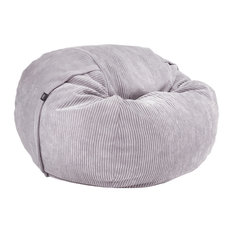 Lounge Bean Bag, Small, Light Grey, Corduroy