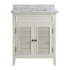 Freestanding White Shutter Door Style Bathroom Vanity With Marble Top
