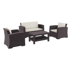 Compamia - Compamia Monaco 4-Piece Outdoor Sofa Set, Brown With Cushion - Outdoor Lounge Sets
