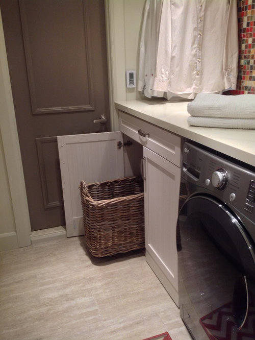 Mid Sized Contemporary Galley Dedicated Laundry Room Idea In Montreal With  Shaker Cabinets, Gray